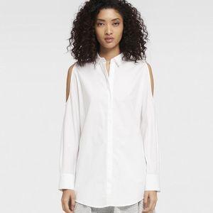 DKNY White Cold Shoulder Shirt